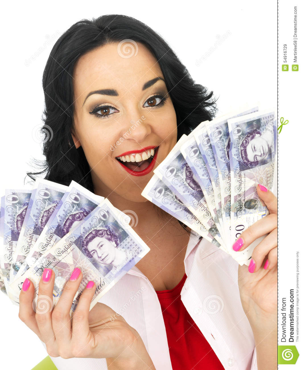Download Happy Beautiful Wealthy Young Hispanic Woman Holding Money Stock Image - Image of beautiful, isolated: 54916729