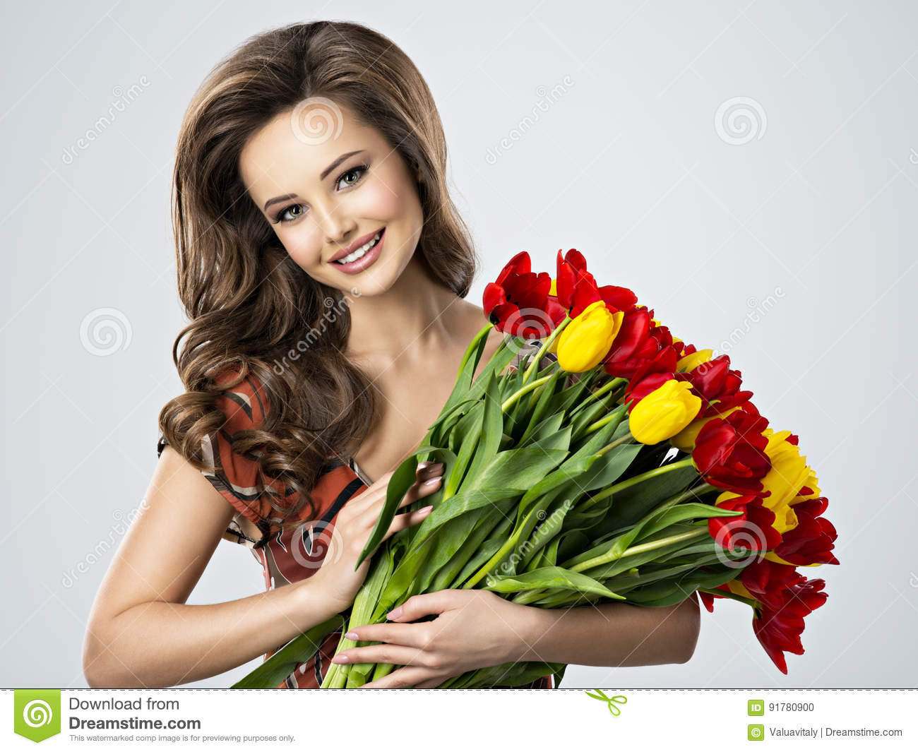 Happy beautiful woman with flowers in hands stock photo image of download comp izmirmasajfo