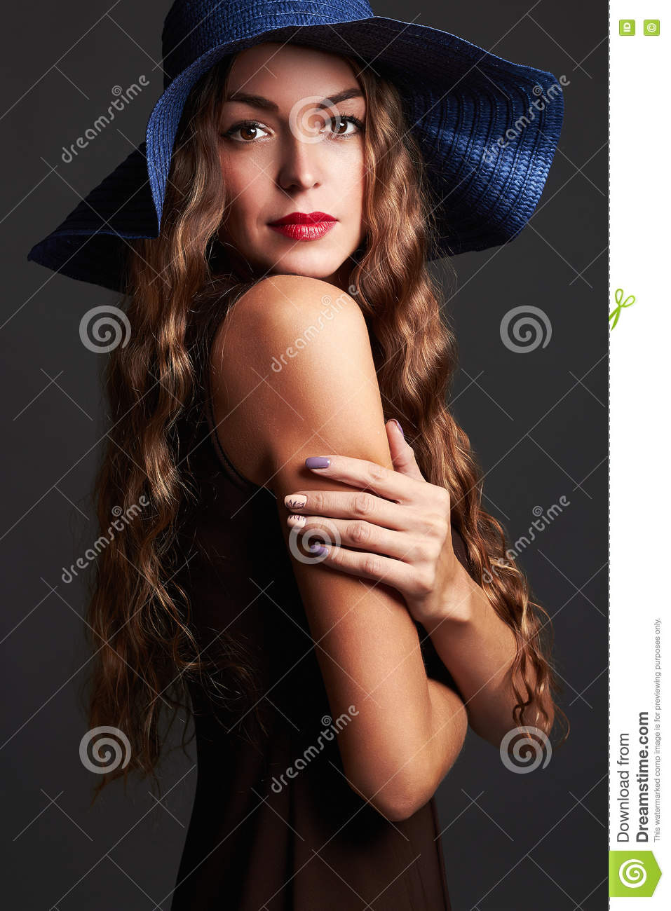 Happy Beautiful Woman In Hat. Fashion Beauty Smiling Girl Stock Photo