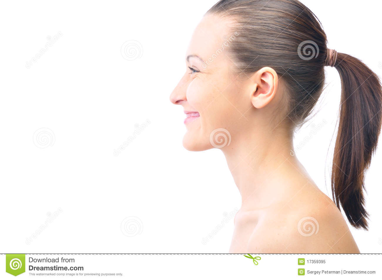 Happy Beautiful Woman Side View Stock Image