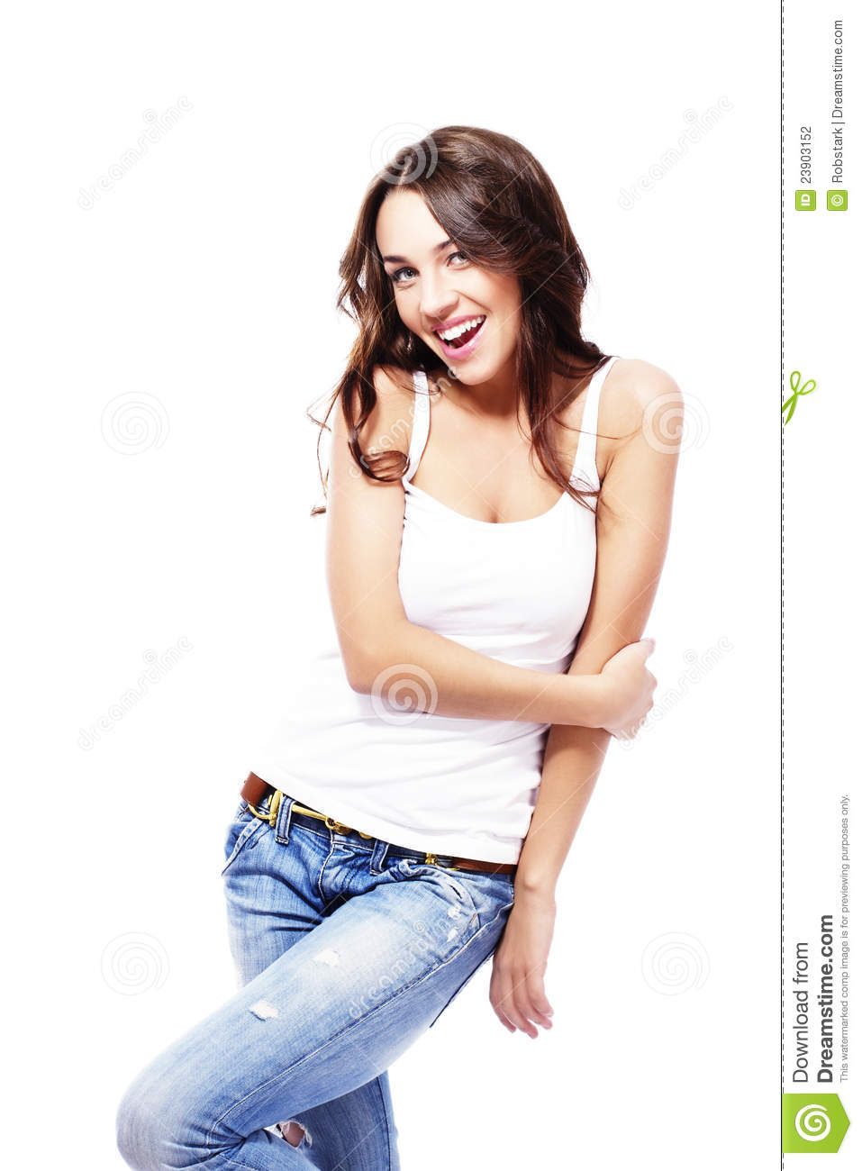Happy Beautiful Woman Wearing Blue Jeans Holding H Stock ...