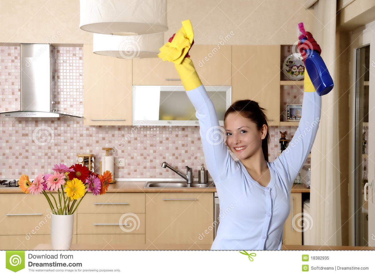 Woman Happy Kitchen Floor
