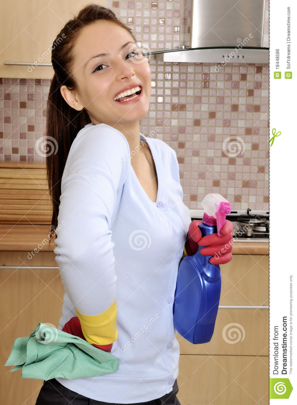 Happy Beautiful Women After Cleaning The House Royalty
