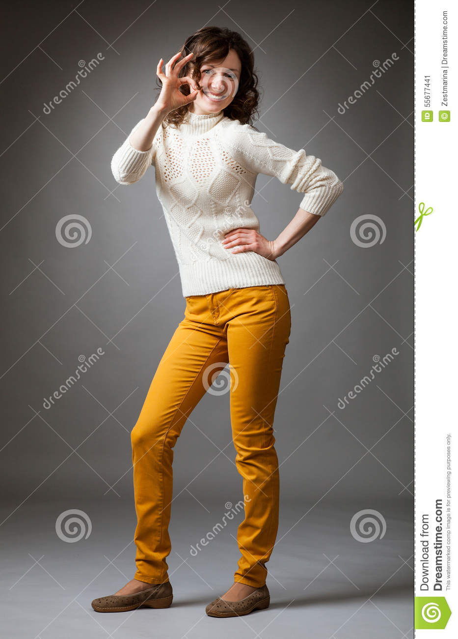 Cute Girl Giving OK Sign Royalty Free Stock Photo - Image