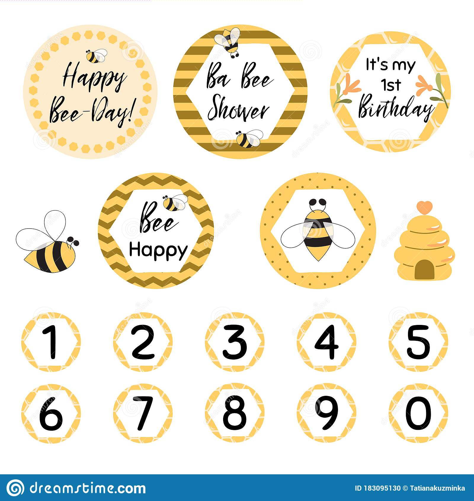 Happy Bee Day Party Decoration Circle Graphic Elements Sweet Honey Kids Birthday Party Decor Cupcake Toppers Set Vector Stock Illustration Illustration Of Baby Banner 183095130