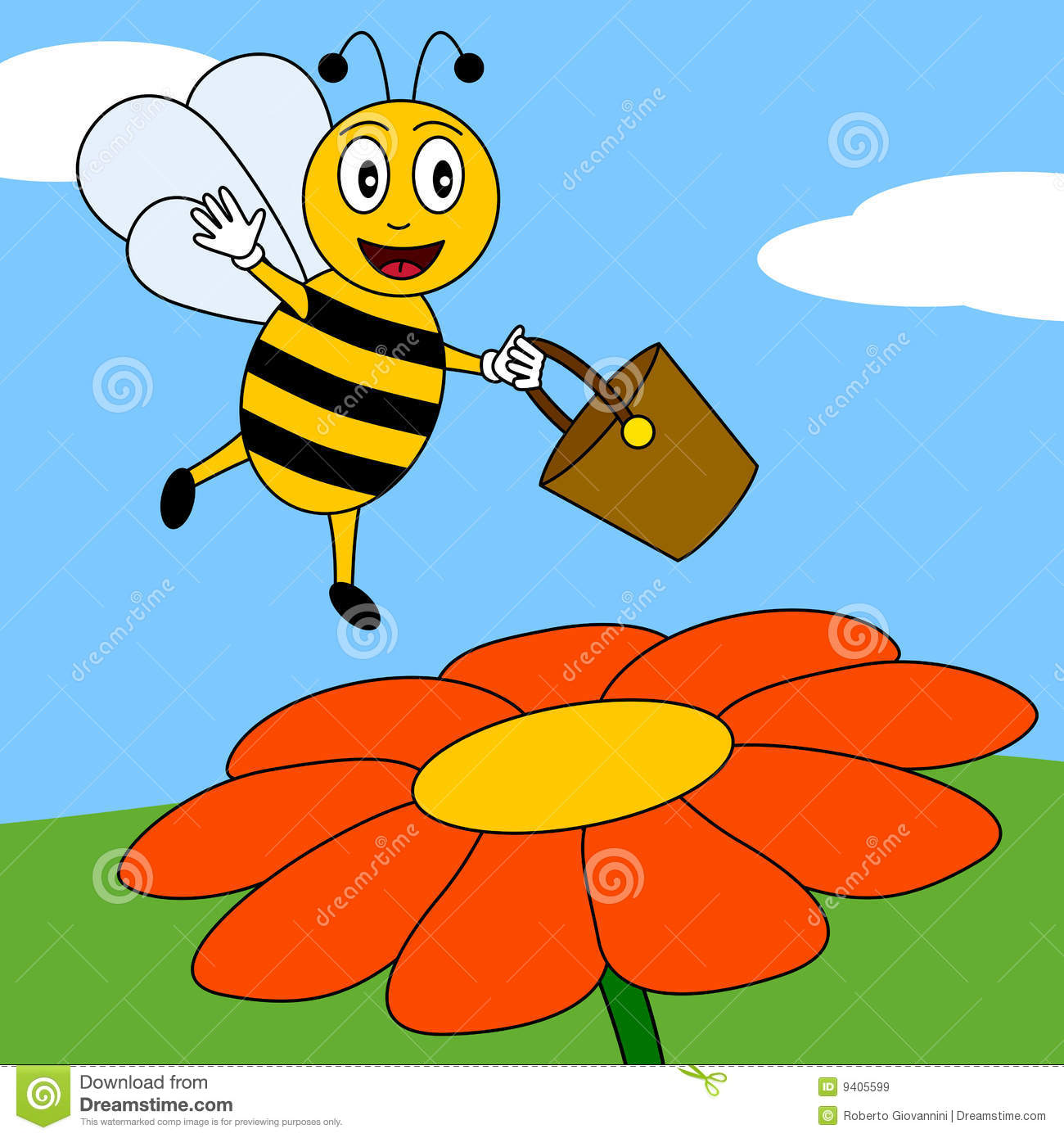 happy bee on a flower royalty free stock images image 9405599