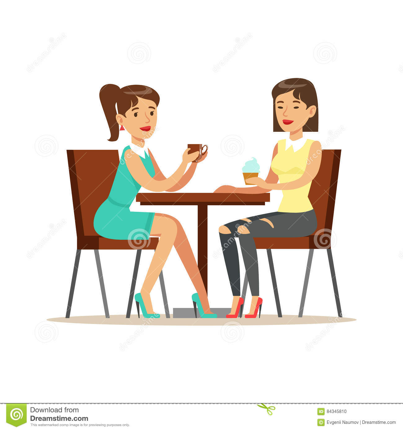 Happy Best Friends Drinking Coffee In Cafe, Part Of Friendship Illustration Series