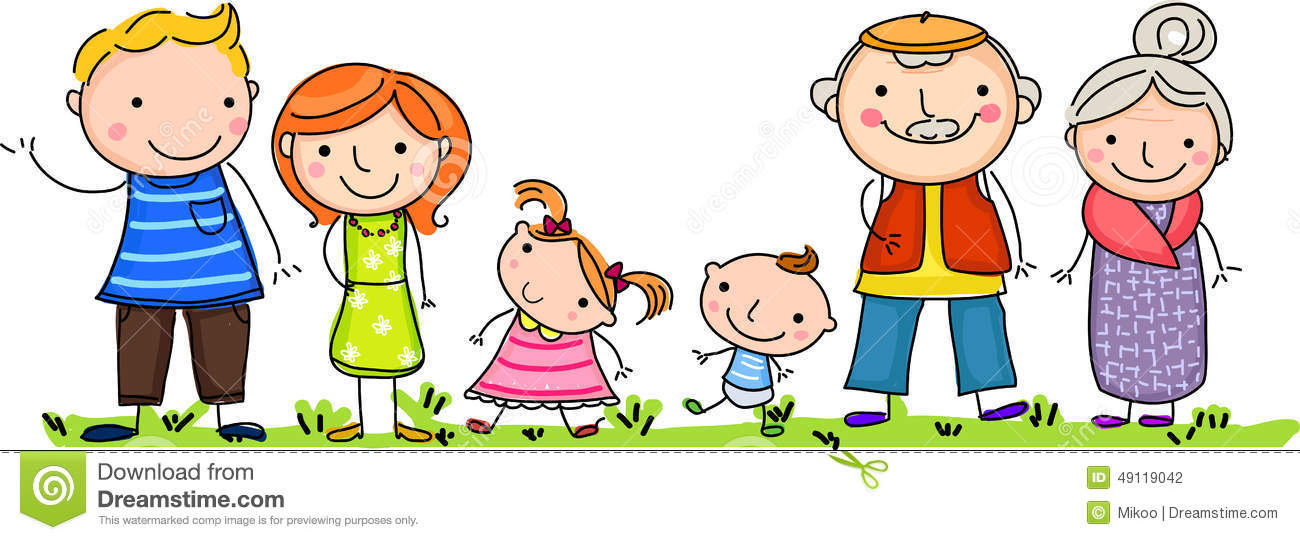 Happy Big Family With Children Stock Vector - Illustration ...