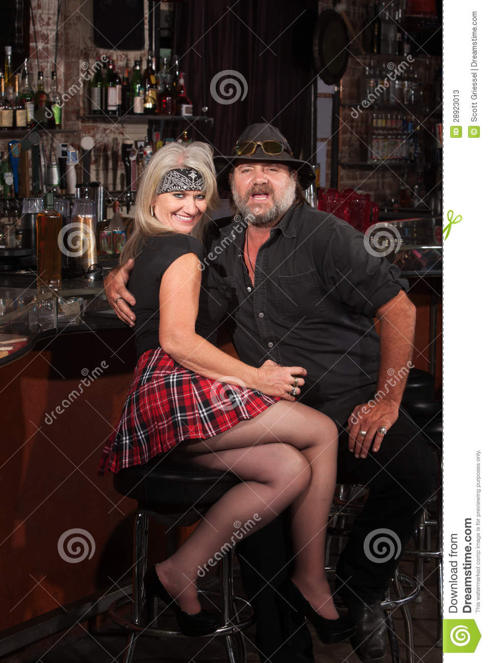 Happy Biker Gang Couple In Bar Stock Photos Image 28923013