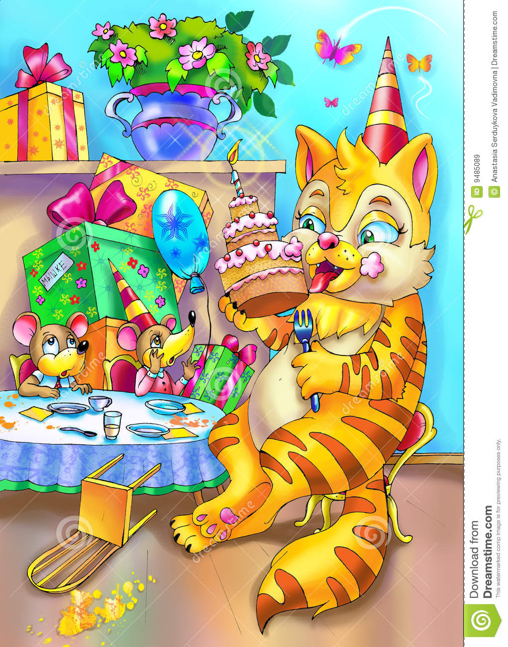 Cat And Mouse Happy Birhday Party Stock Illustration