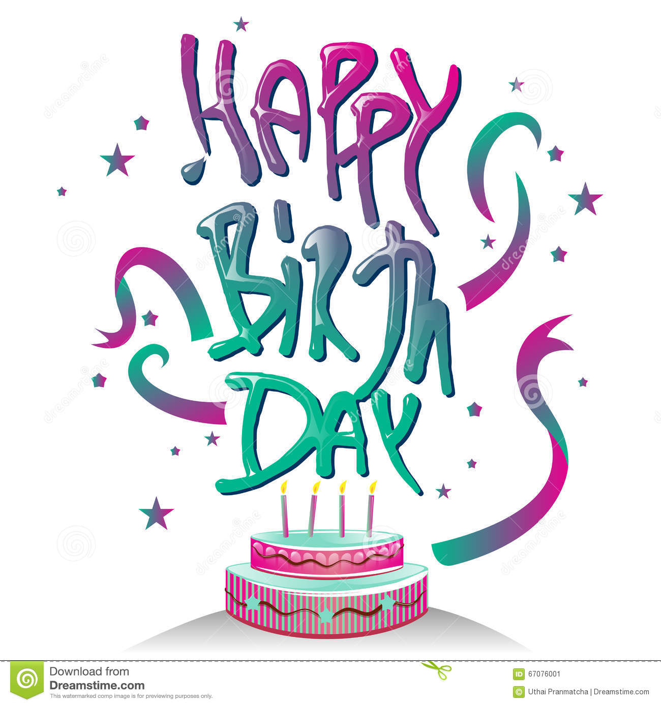 Happy Birth Day Typography Logo Symbol With Cake Design Stock Vector