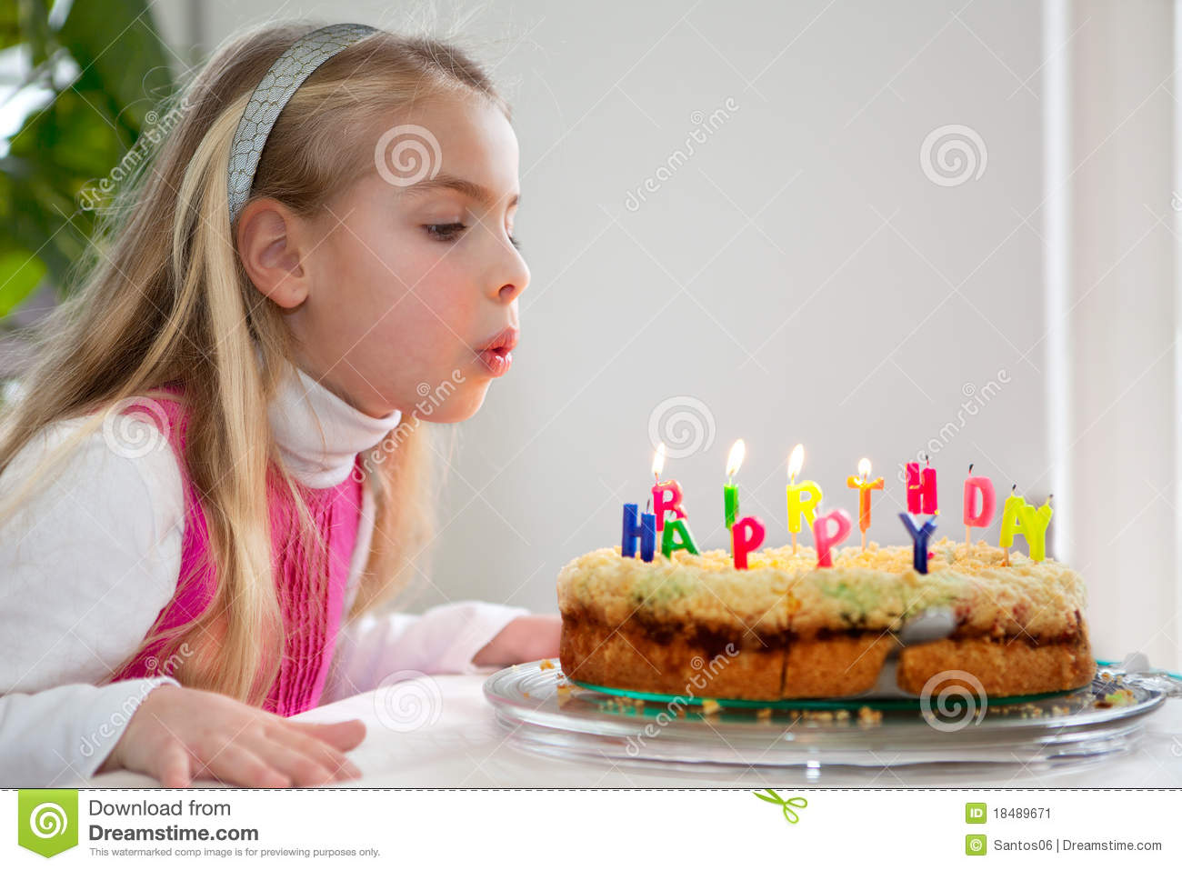 Little Girl Blowing Out Candles On Her Birthday Cake