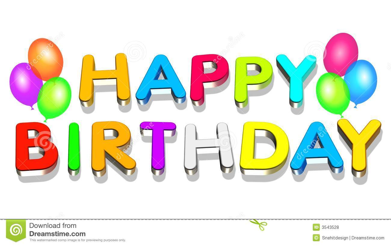 An illustration colorful 3d happy birthday text