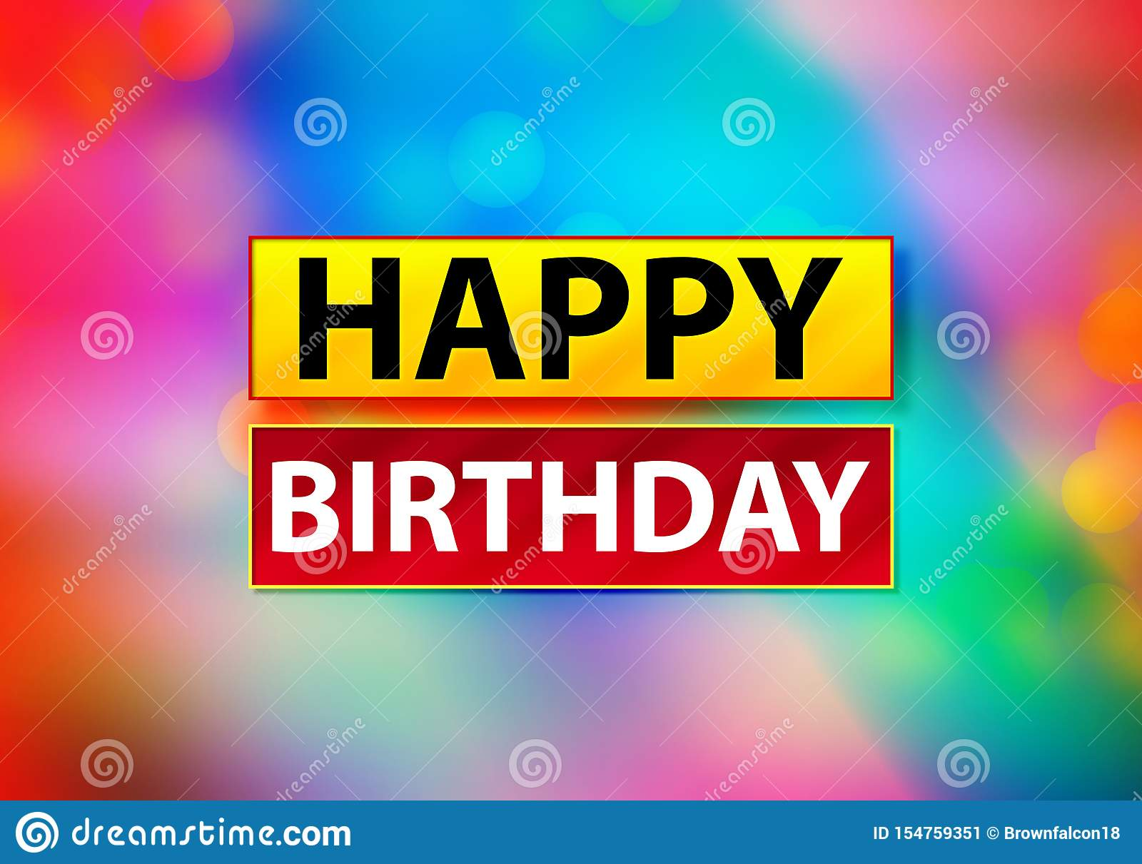 Happy Birthday Abstract Colorful Background Bokeh Design Illustration