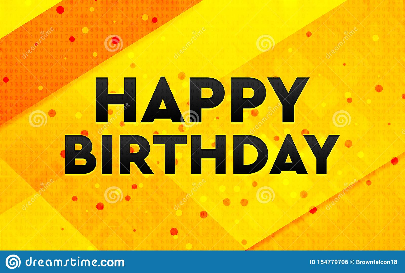 Happy Birthday abstract digital banner yellow background