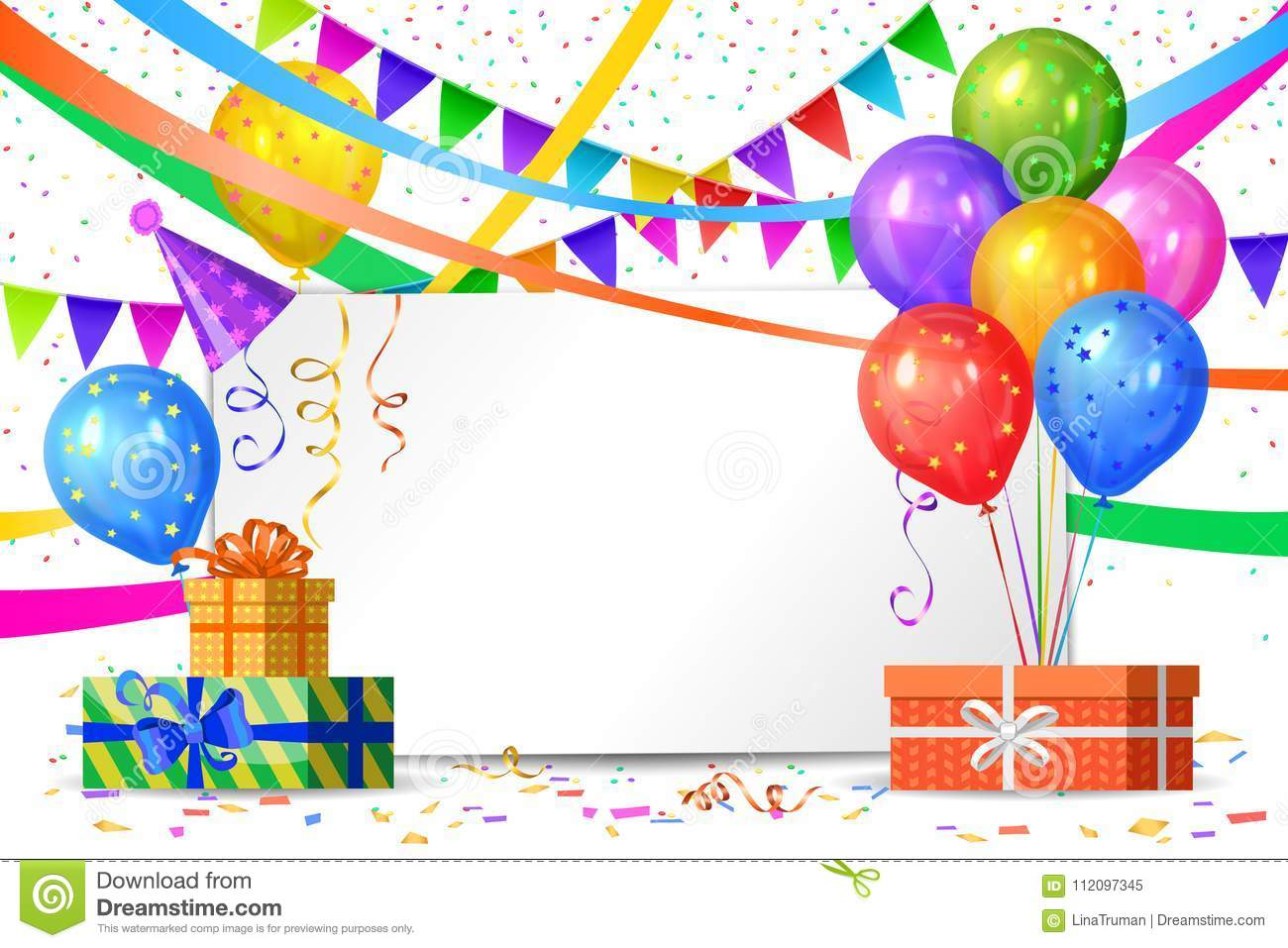 Happy Birthday Design Realistic Colorful Helium Balloons Gift Boxes Flags Garlands And White Sheet Party Decoration Frame For Anniversary