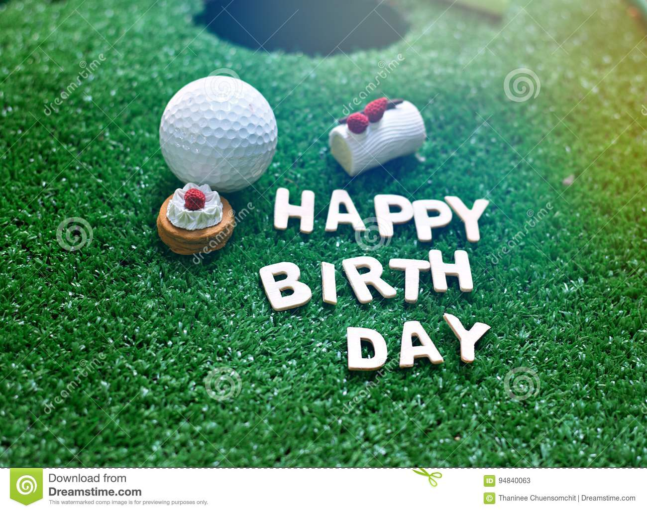 Happy Birthday Alphabet On Green Grass For Golfer