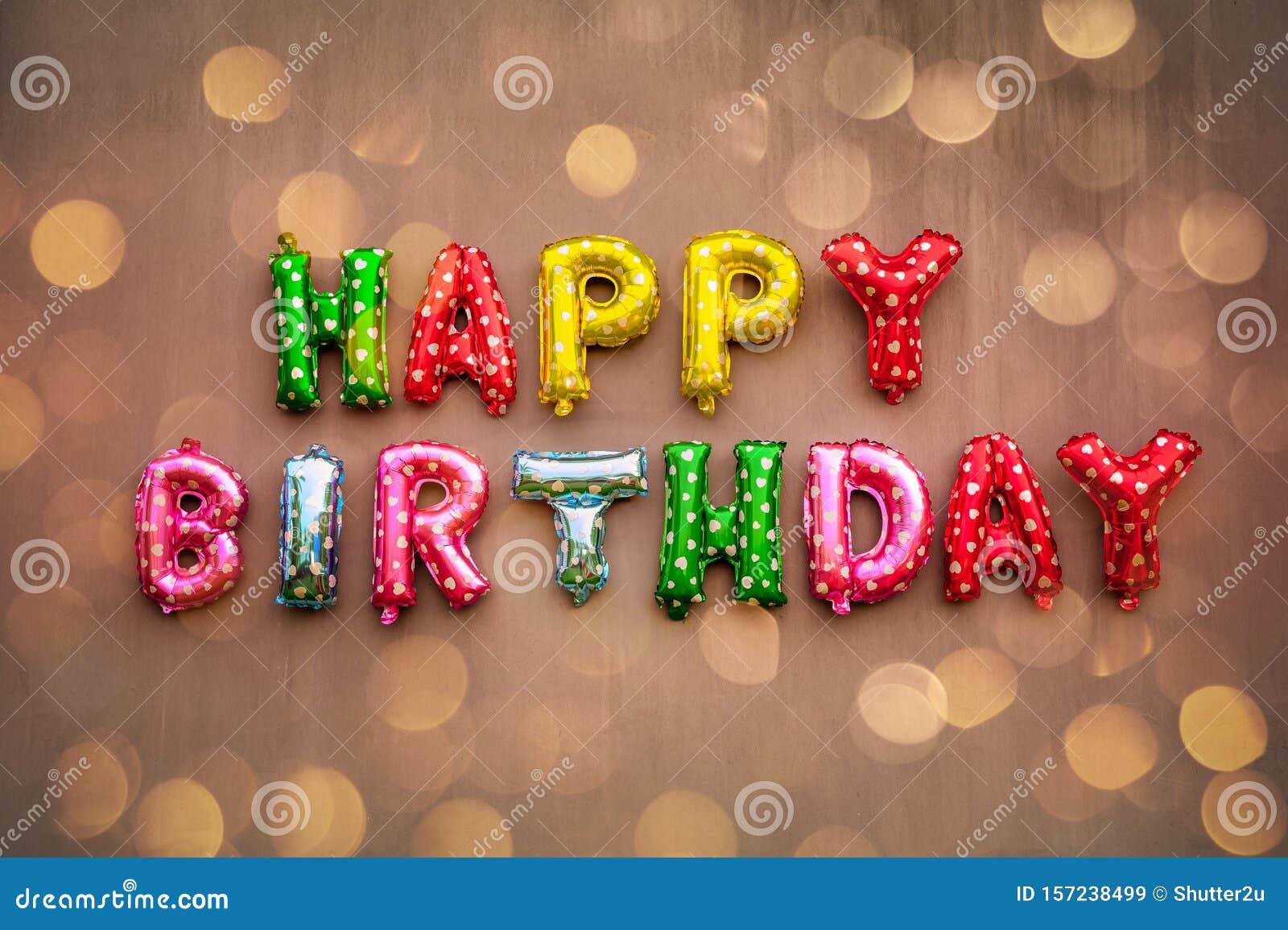 Happy Birthday alphabet text on wall background