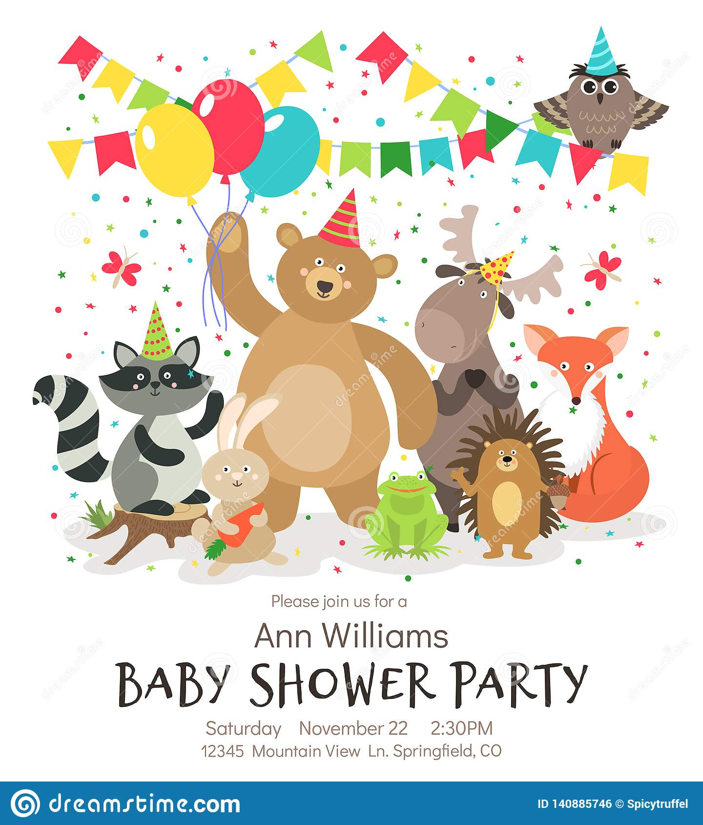 Happy Birthday Animals Poster Woodland Forest Animal Baby Shower