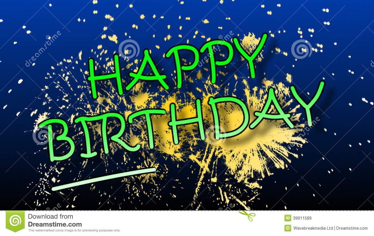 happy birthday animation with fireworks stock video video of vector congratulation 39911589