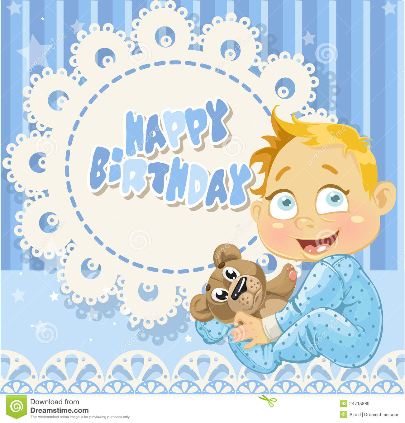 Happy Birthday For Baby Boy Blue Openwork Card Stock Vector