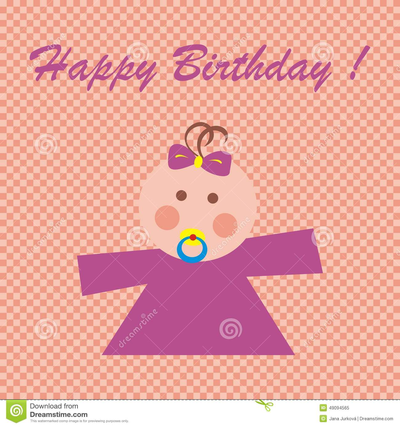 Happy Birthday, Baby Girl Stock Vector - Image: 49094565