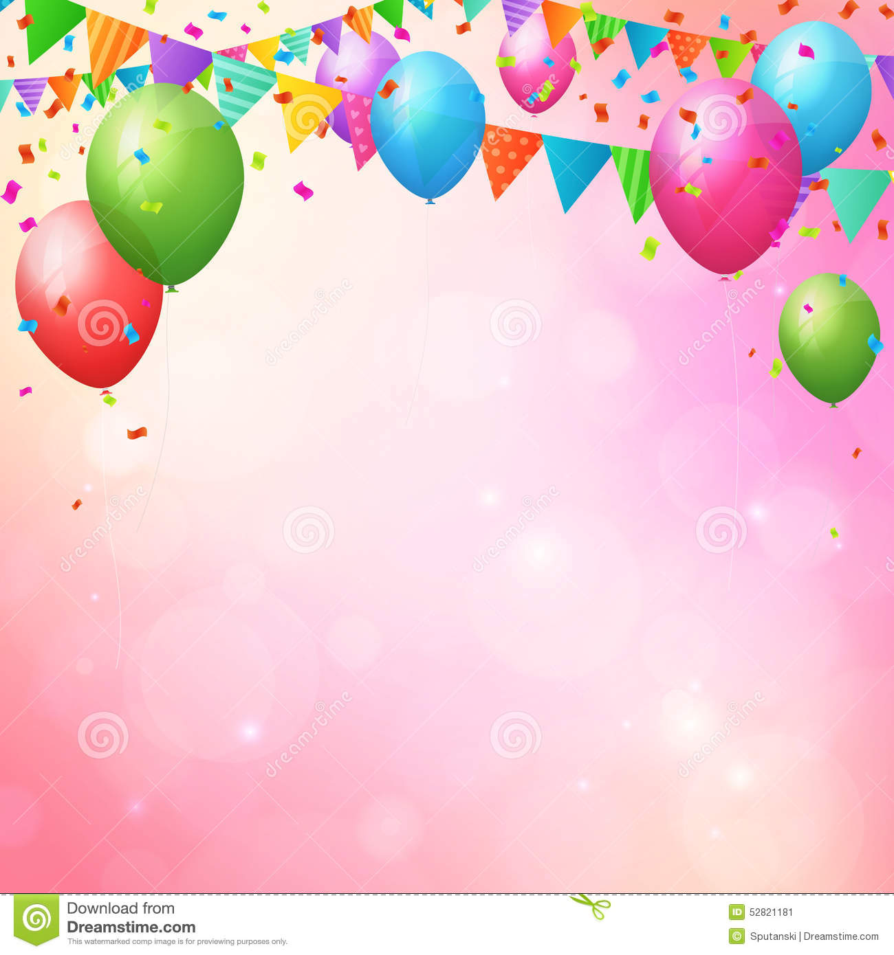 happy birthday background with balloons and flags stock vector