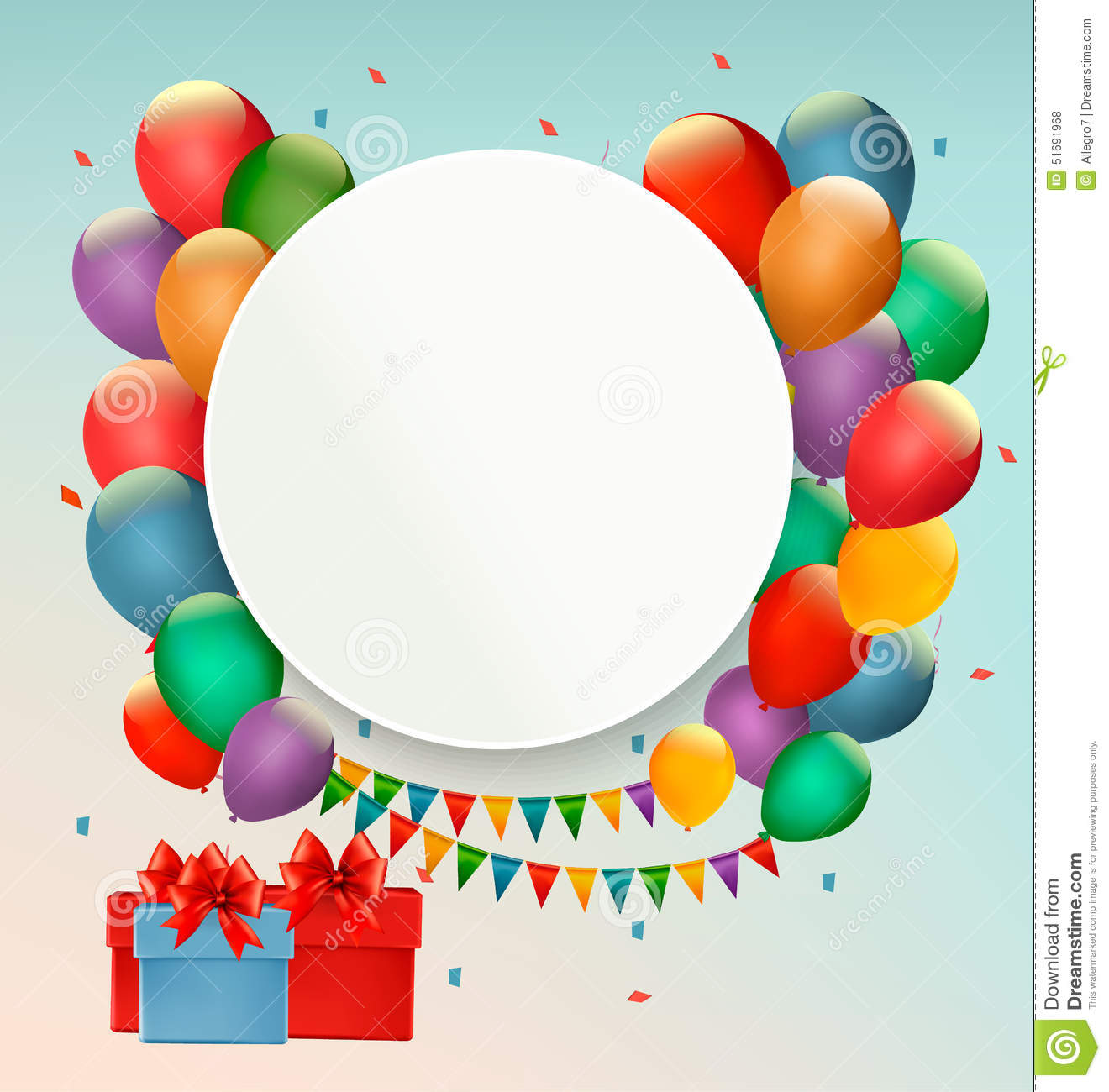 Happy Birthday Background With Balloons And Presents. Stock Vector ...