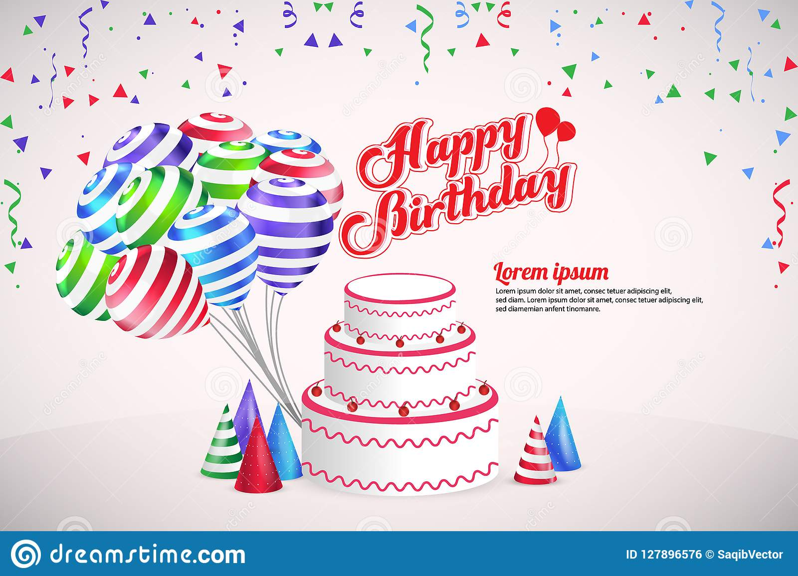happy birthday background birthday party vector template design