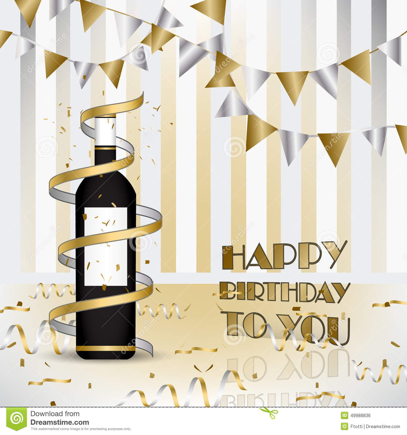 Happy Birthday Background With Bottle Of Wine And Ribbons Illustration Design For Your Wishes