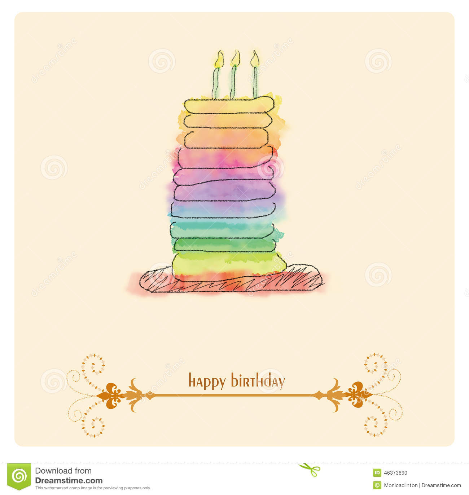 Birthday Watercolor Cake