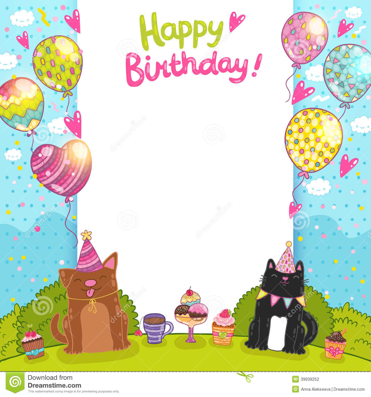 Happy Birthday Background With A Cat, Dog Stock Vector ...