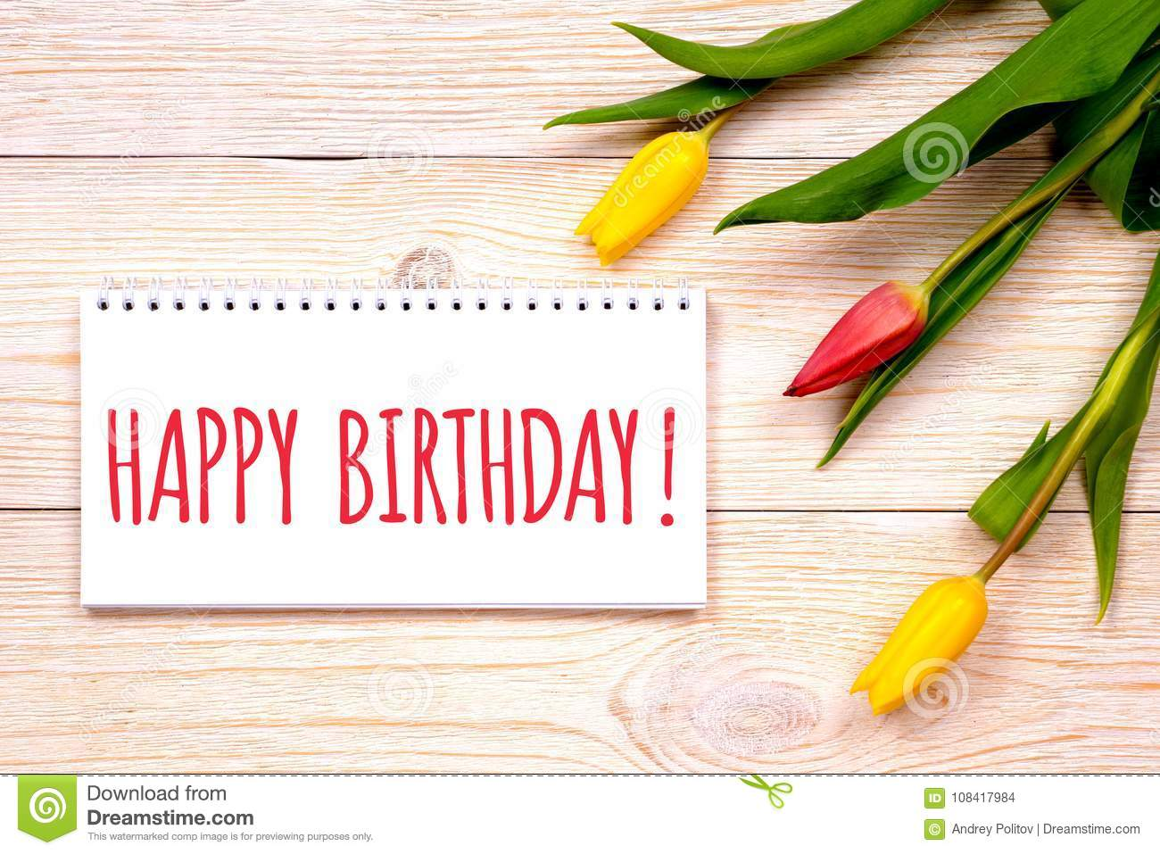 Happy Birthday Background Greetings With Tulips Stock Photo Image