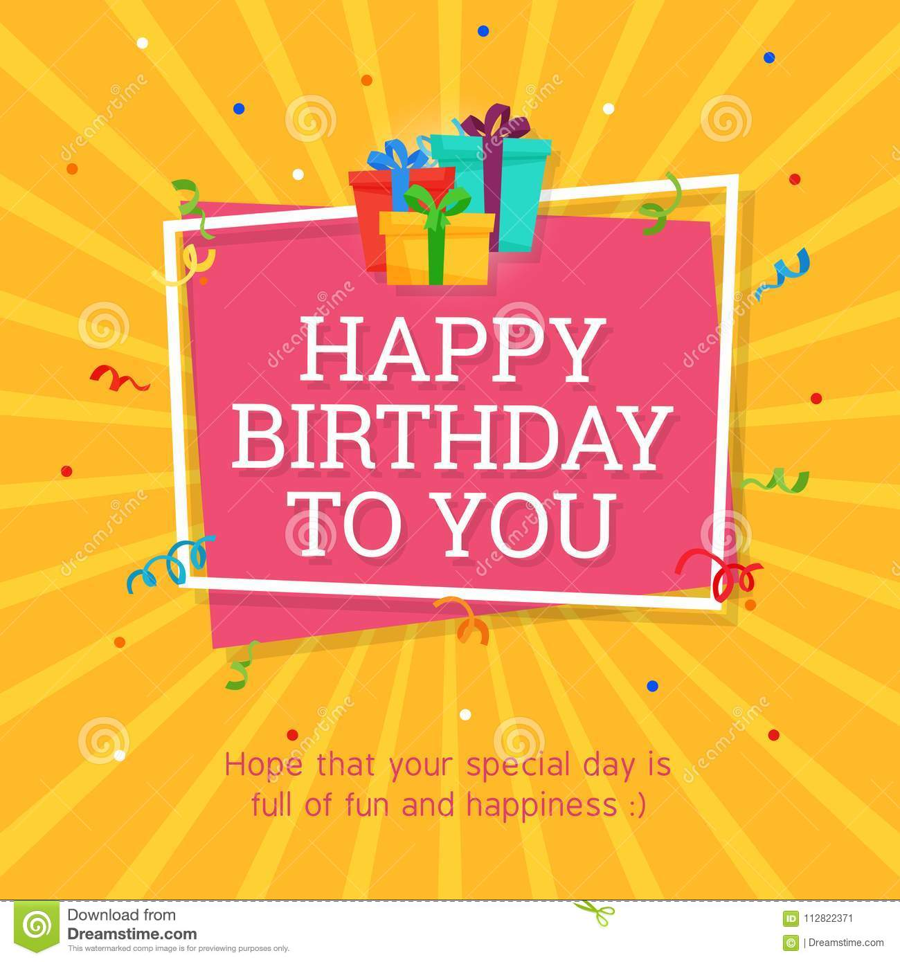 Happy Birthday Background Template with Gift Box Illustration.
