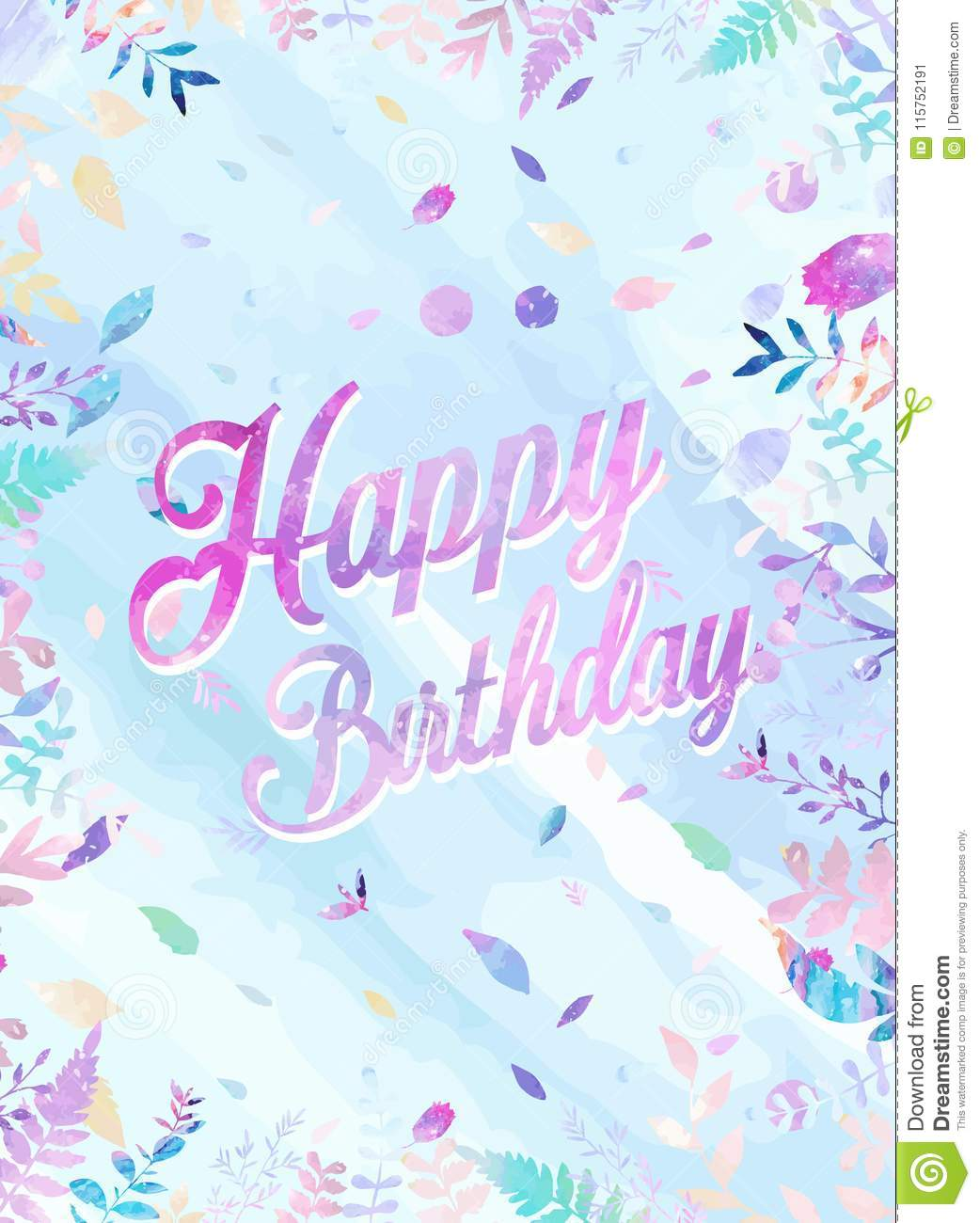 happy birthday background vector illustration with watercolor style for someone special birthday soft cold color