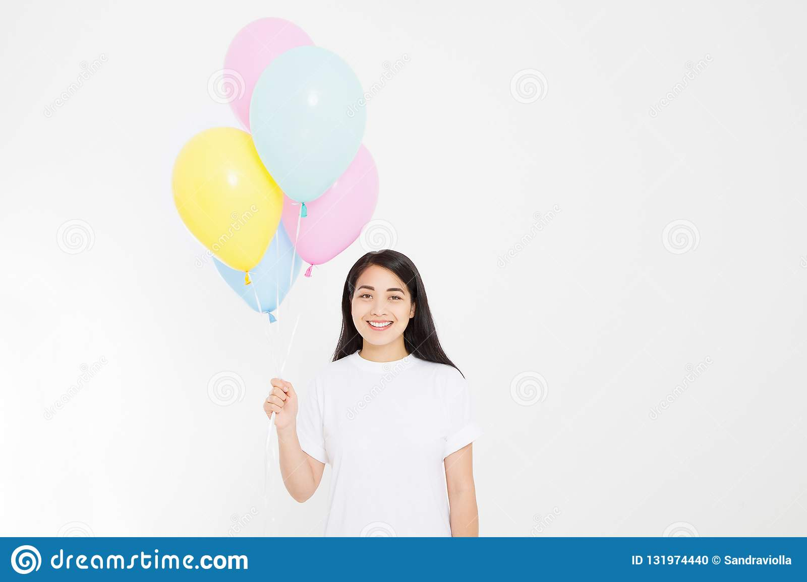 Happy birthday. Balloon party. Happy asian girl with balloons isolated on white background. Copy space. Blank template t shirt