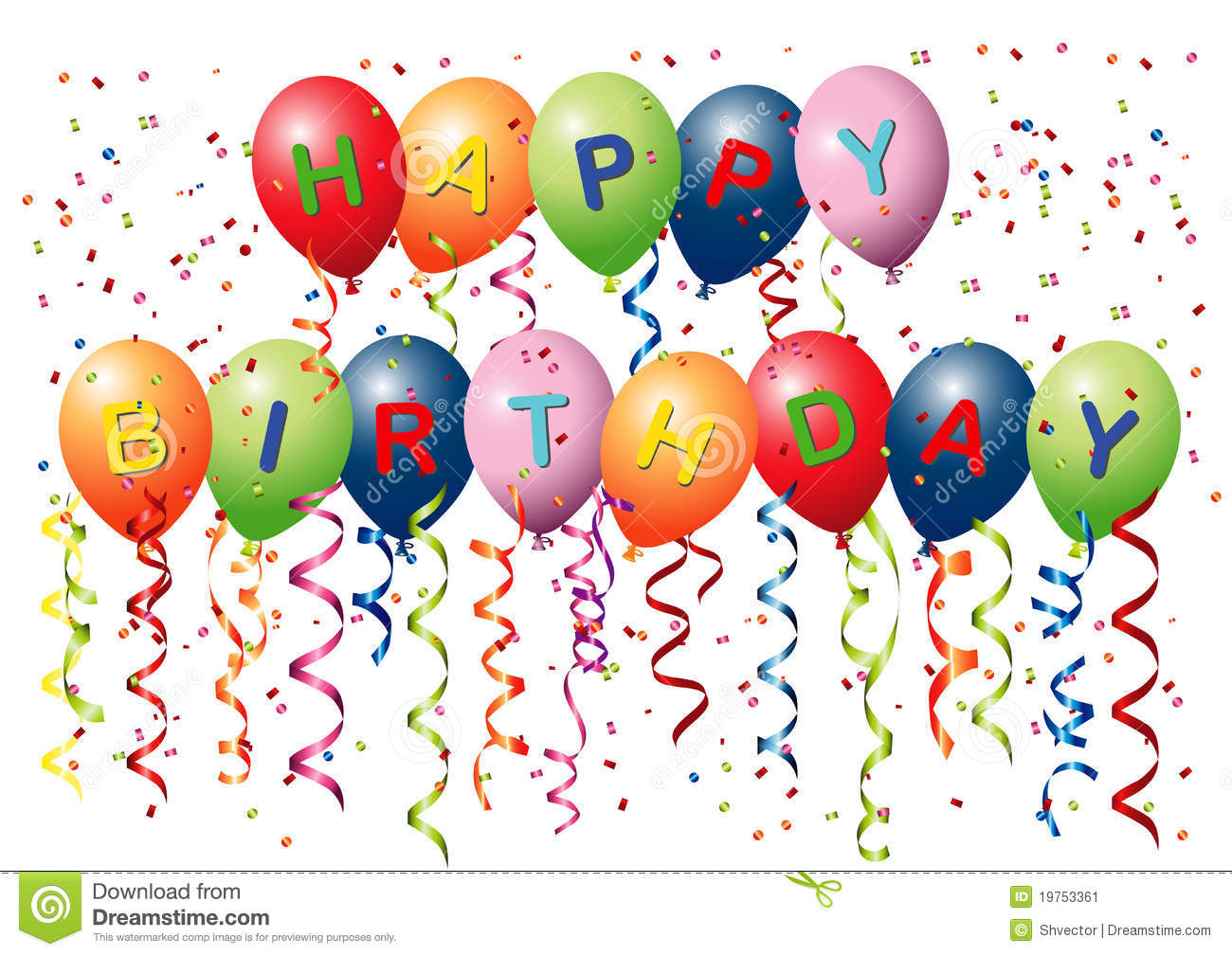 Happy Birthday Balloons stock image Image of t