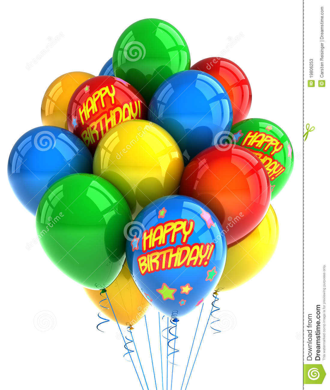 Colorful Party Balloons Celebrating A Birthday Over White