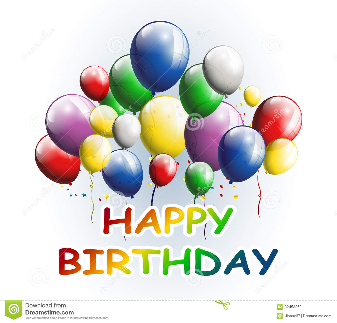 Happy Birthday With Balloons Background For You Design