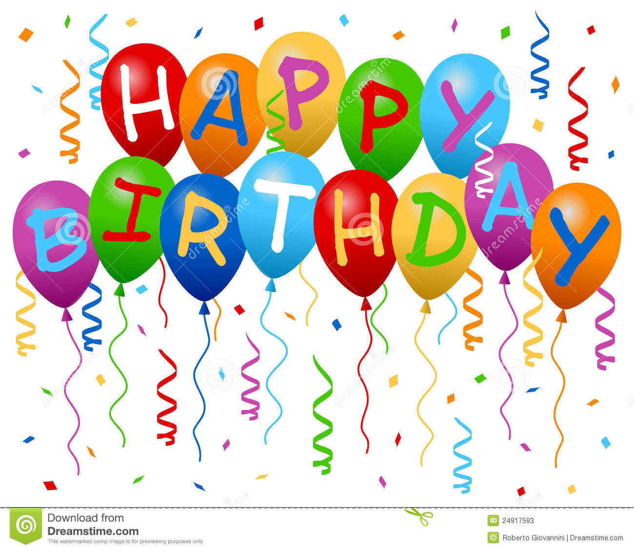 Happy Birthday Balloons Banner Stock Photos - Image: 24917593