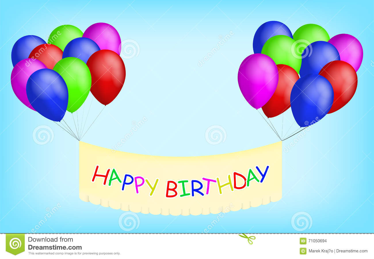 Happy Birthday Balloons With Banner. Stock Vector - Image: 71050694