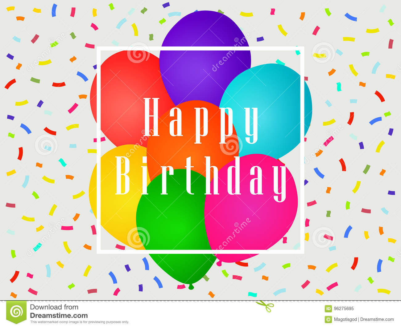 Happy Birthday Balloons And Confetti Greeting Card Template