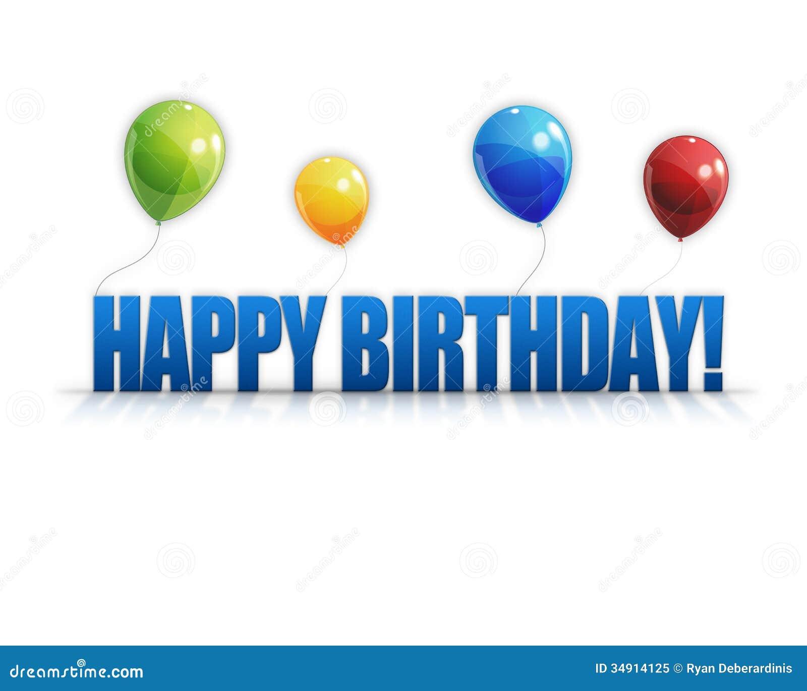 Happy Birthday Balloons 3d Background Stock Illustration