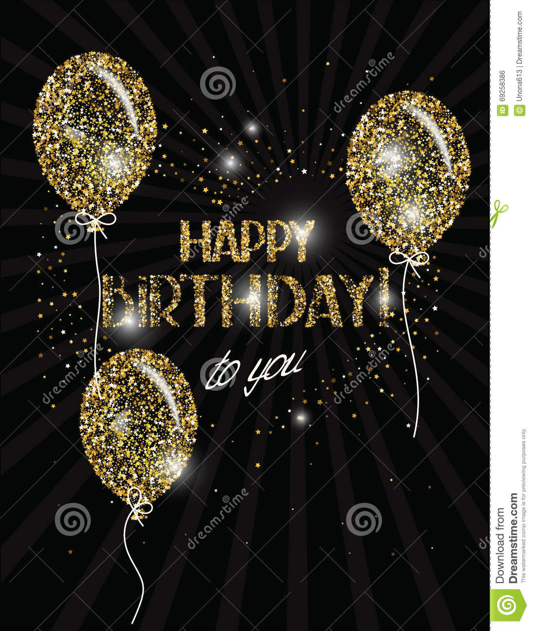 Happy Birthday Banner With Abstract Gold Air Balloons