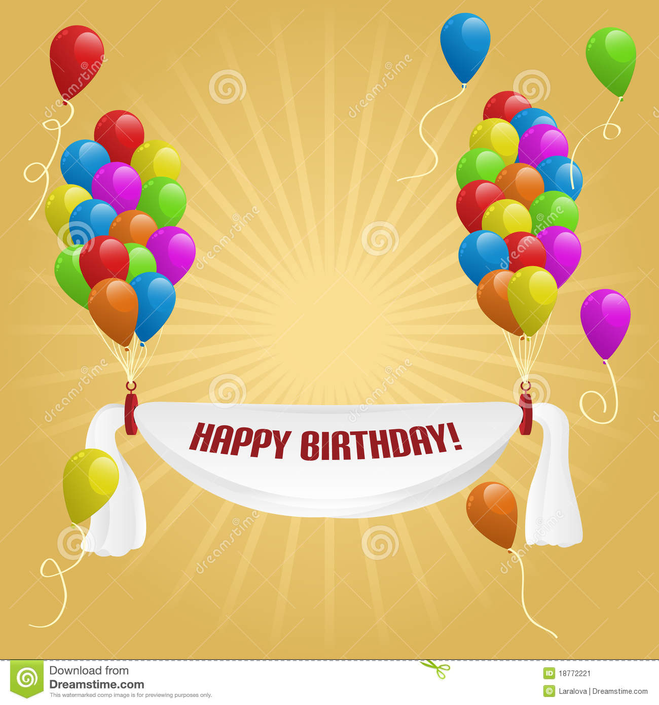 happy birthday banner with balloons stock image  image: 18772221