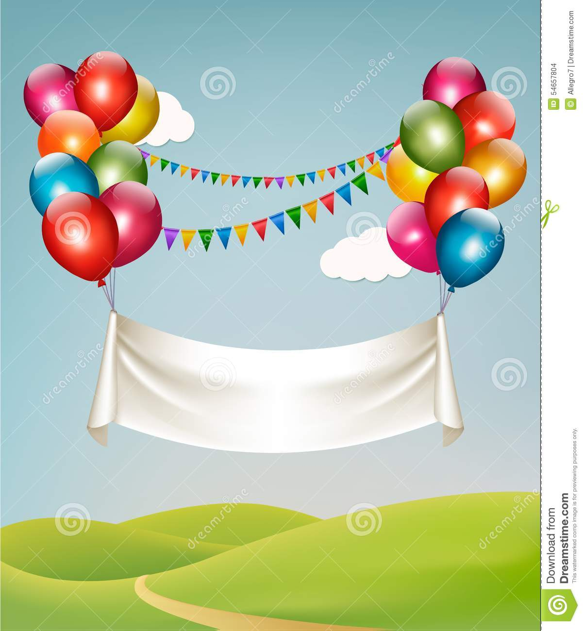 Happy Birthday Banner With Balloons. Stock Vector