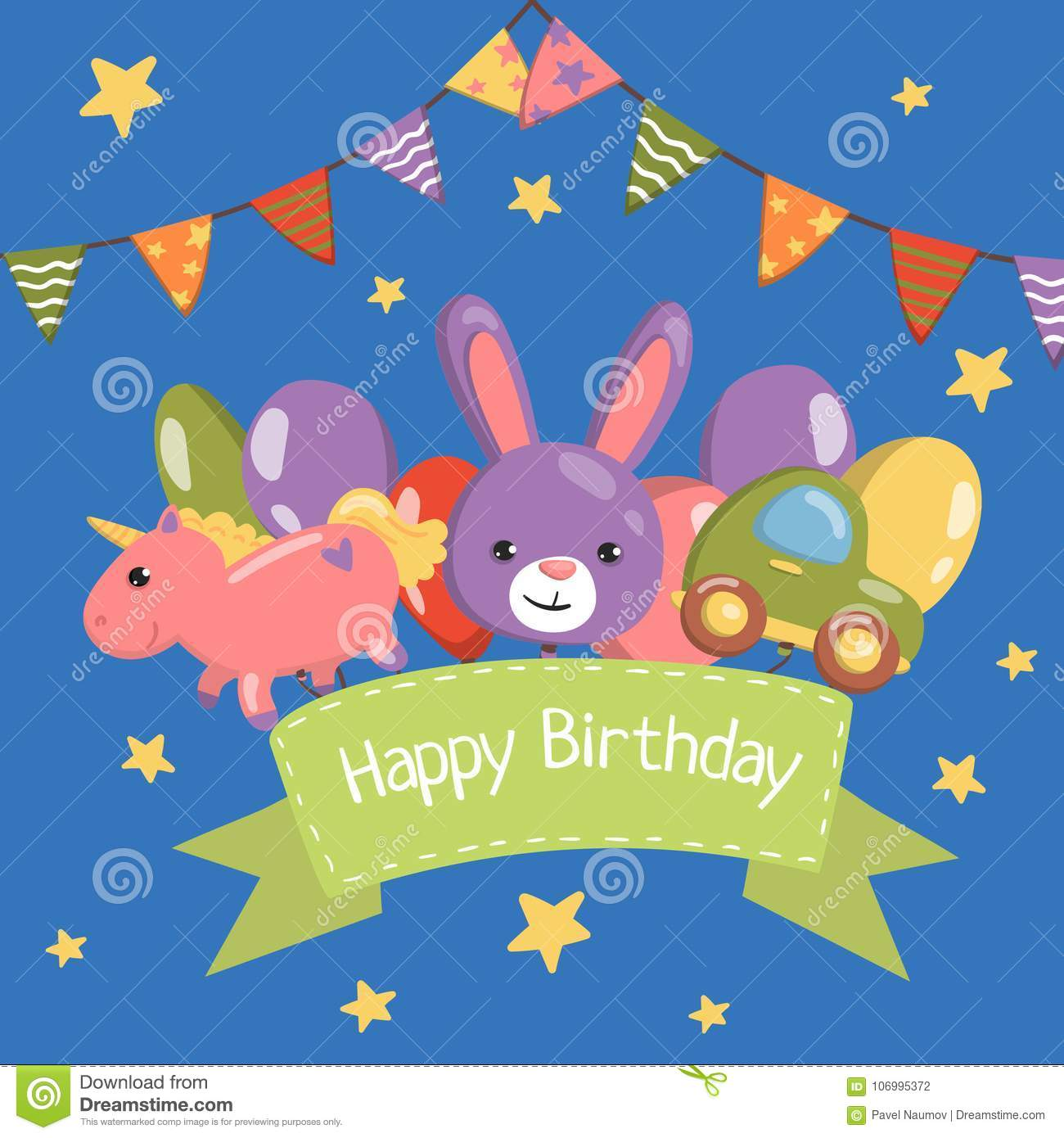 happy birthday banner birthday party card with cute animals vector