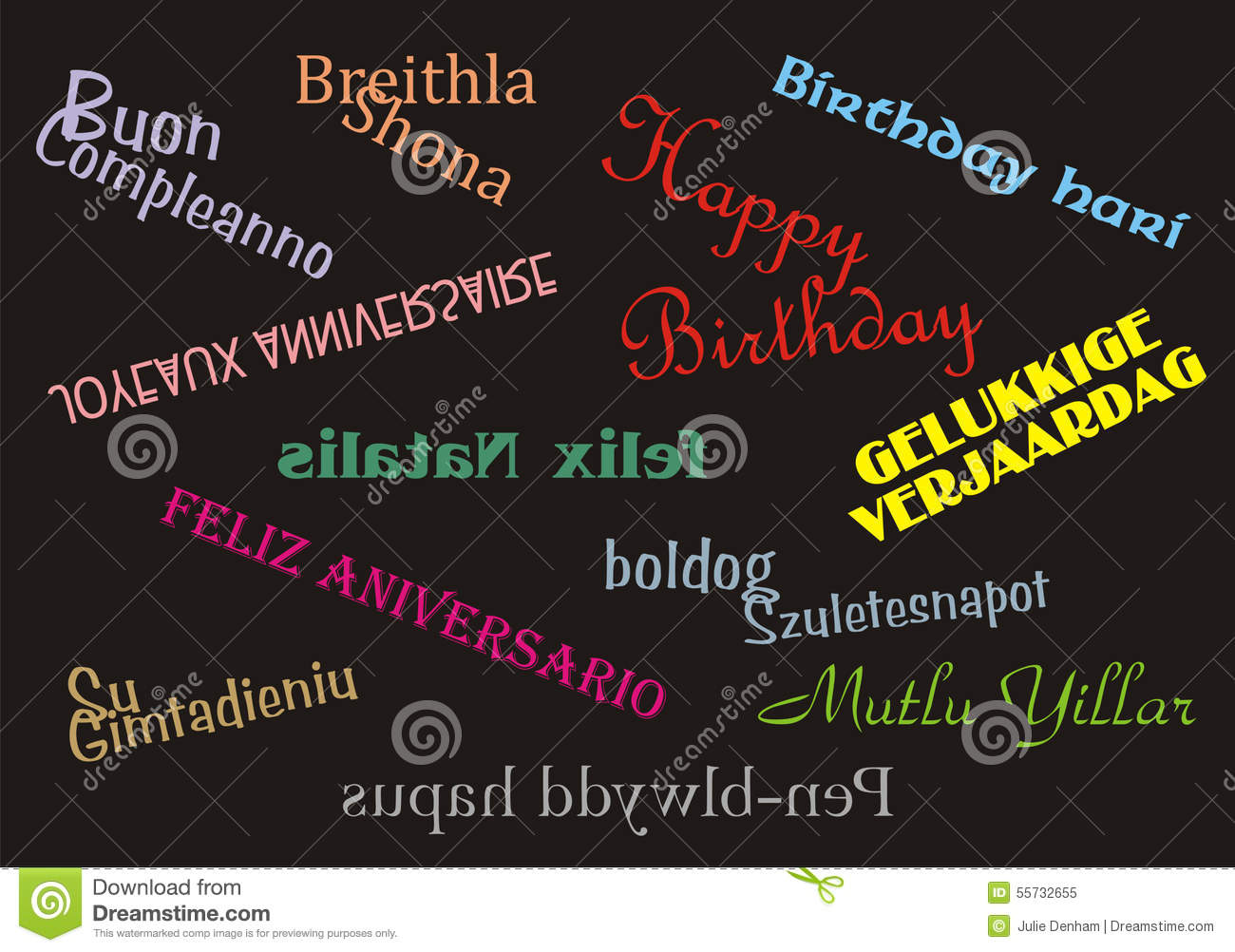 Happy Birthday Banner Multiple Languages Stock Photo