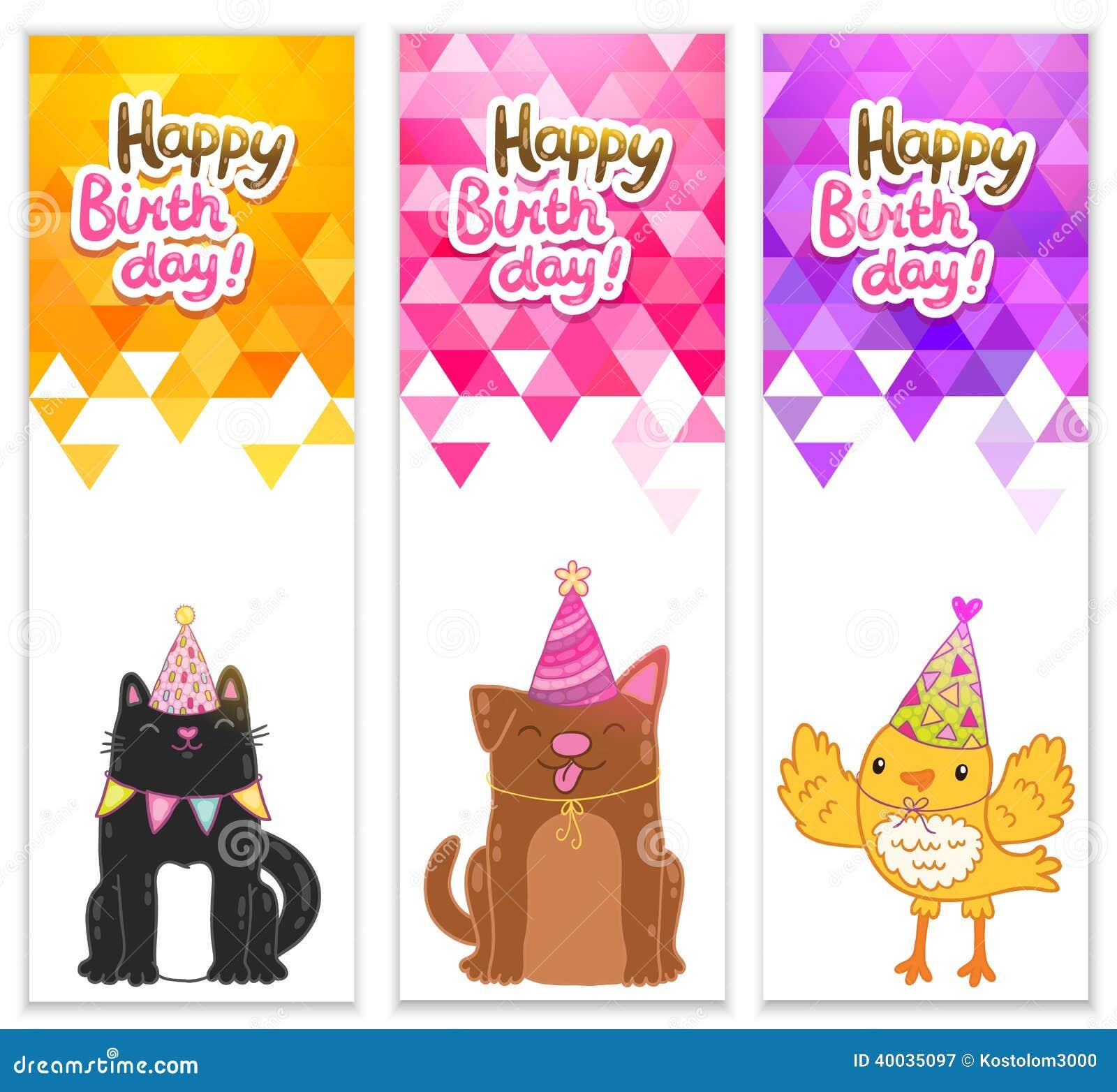 Cat Birthday Banner: Happy Birthday Banners With Cat, Dog, Bird Stock Vector