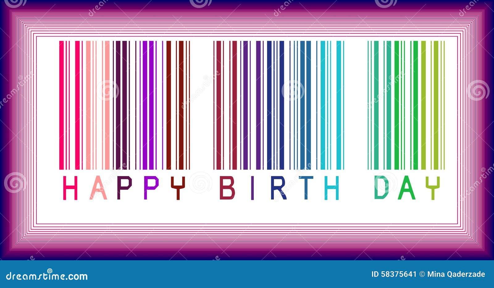 Happy Birthday Bar-code is Happy Birthday phrase in bar-code style.